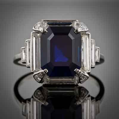 I love estate jewelry...just look at this 5 Carat Art Deco saphire and diamond ring! Stunning!