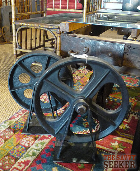 I fell in love with these heavy cast iron industrial wheels! No reproductions here!