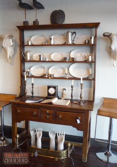 Love this tall english cupboard with pewter and stoneware display!