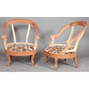 Pair of Louis XV Style Unupholstered Walnut Bergere Frames on cabriole legs