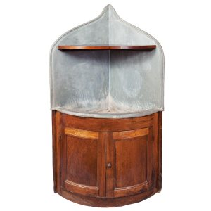 French provincial fruitwood and lead corner dry sink, 19th Century