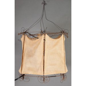 Metal and linen lantern, with circus tent form and interior acrobats