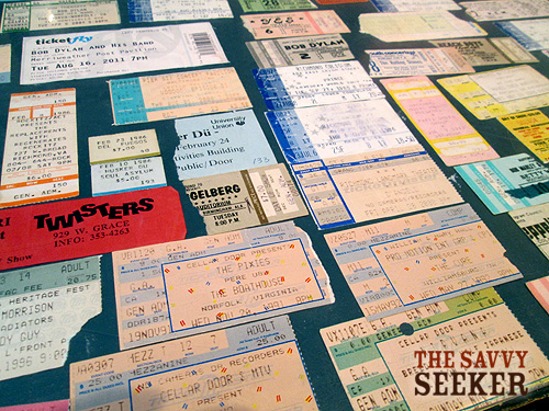 The most amazing collection of concert ticket stubs that I've ever seen are on display  on the counter. Jay thinks he's been to at least 1,500 shows.