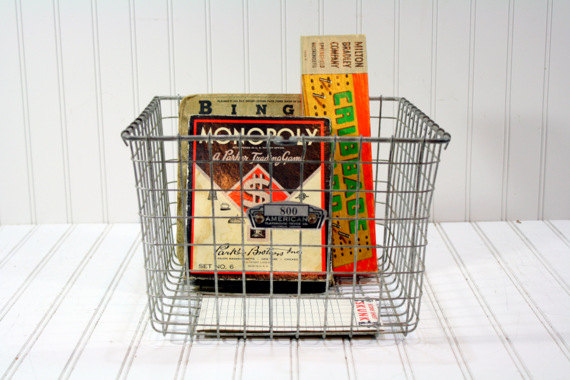 Store some magazines in this vintage locker basket!