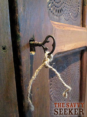 This key and lock are 173 years old! Imagine the things that they have safely held in this pie safe...