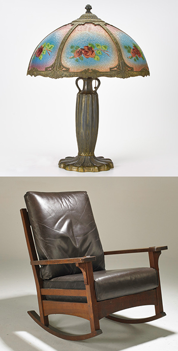 How about a fine reverse-painted table lamp or early 20th century Stickley rocking chair? Check out Rago Arts Unreserved auction!