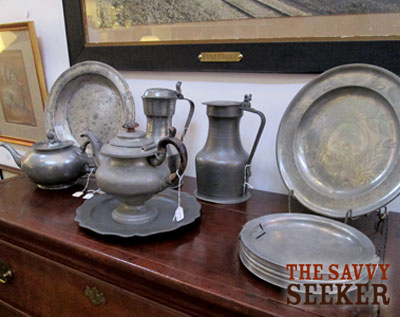 I had my eye on the pewter dish, underneath of the teapot. Priced at $75...I felt that was a good price for its age.