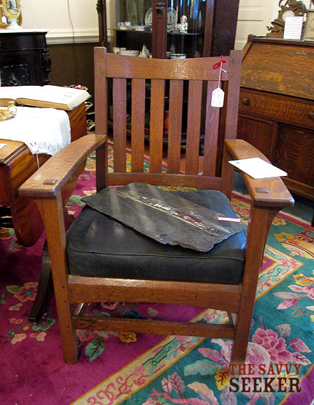 I would have bought this antique mission oak arm chair, except that I already have one that is very similar!