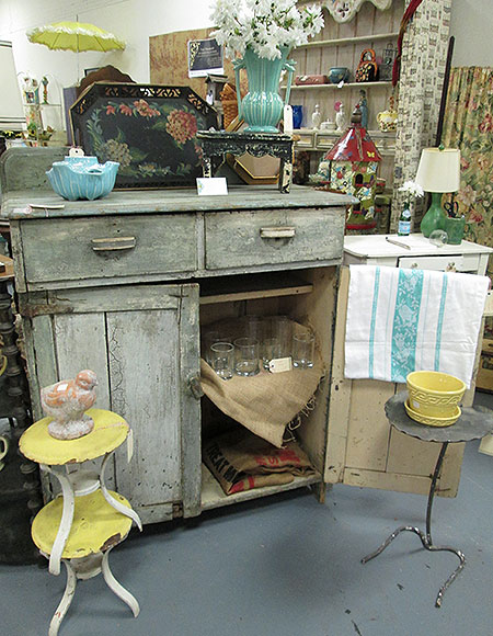 Check  out the chippy paint on this old jelly cupboard! I could see this as a buffet or in someone's entry way with a cool mirror placed on top!