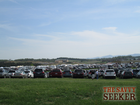 The view early in the morning...cars lined as far as you could see...