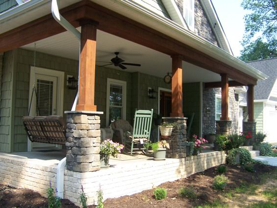 Porch column makeover faux real thesavvyseeker for Front porch pillars design